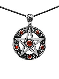 Pentagramm Kette mit roten Steinen