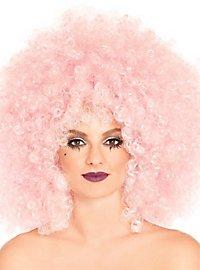 Perruque afro bouclée rose