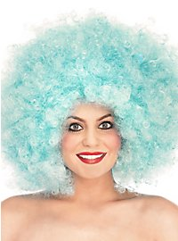 Perruque afro bouclée turquoise