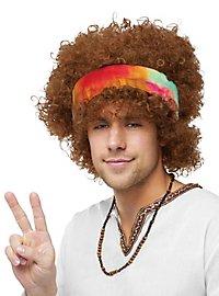 Perruque afro hippie avec bandeau