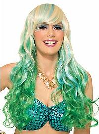 Perruque bicolore blond et vert
