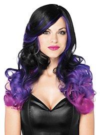 Perruque bouclée noir et violet