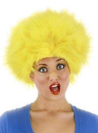 Perruque cheveux en pétard jaune