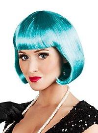 Perruque coupe au carré bleu vert