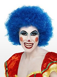 Perruque de clown bleue