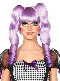 Perruque de poupée violette avec tresses amovibles
