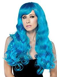 Perruque de sirène bleu azur