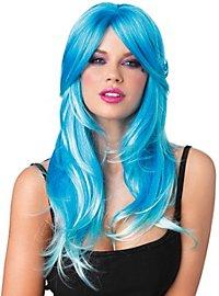 Perruque de sirène turquoise et bleue