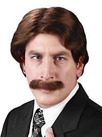 Perruque et moustache de présentateur de JT des annéees 70