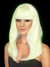 Perruque longue blanche luminescente