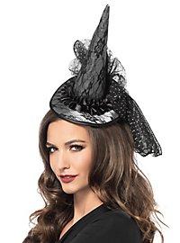 Petit chapeau de sorcière gris à dentelle et à voiles
