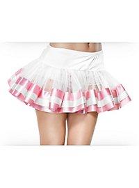 Petticoat kurz mit weiß-rosa Satinsaum