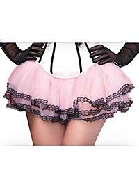 Petticoat pink mit schwarzem Spitzensaum