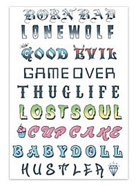Phrases & Words Knuckles Temporary Tattoo Kit