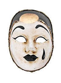 Pierrot medio bianco nero Venezianische Miniaturmaske
