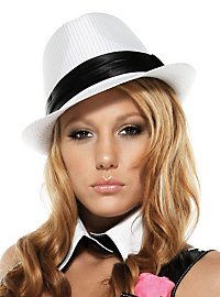 Pinstriped Fedora Hat white