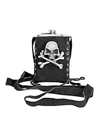 Pirate Metal Hip Flask with Pouch black