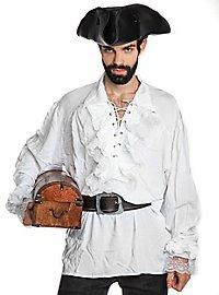 Piratenhemd mit Spitzenrüschen weiß