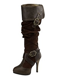Piratenstiefel Deluxe Damen braun