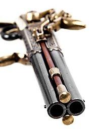 Pistole mit drehbarem Doppellauf Dekowaffe