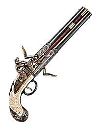 Pistolet à platine à silex à deux canons rotatifs