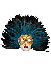 Piuma blu Grande Volto stucco oro Venetian Mask