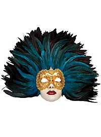 Piuma blu Grande Volto stucco oro Venezianische Maske