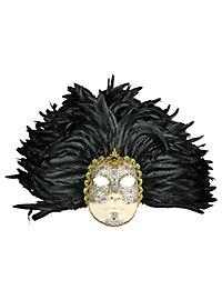 Piuma grande volto macrame argento piume nere - Venezianische Maske