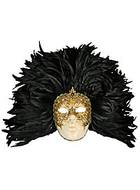 Piuma grande volto macrame oro piume nere - Venetian Mask