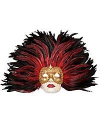 Piuma rossa Grande Volto stucco oro Masque vénitien