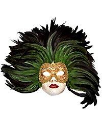Piuma verde Grande Volto stucco oro Venetian Mask