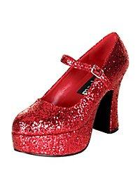 Plateau Schuhe glitter-rot
