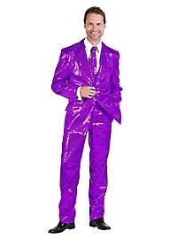Pop singer sequined suit purple costume