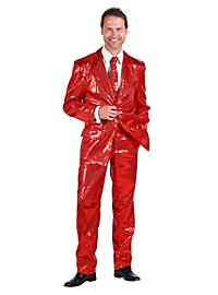 Pop singer sequined suit red costume
