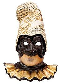 Pulcinella nera con capello musica Venezianische Maske