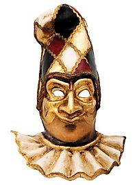 Pulcinella oro con capello scacchi colore Venezianische Maske