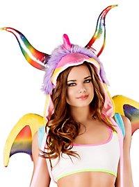 Rainbow Dragon Fur Hood with Tail