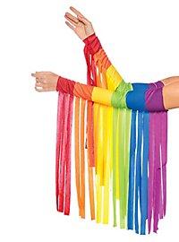Rainbow fringes arm warmers