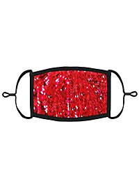 Red-silver reversible sequins Mouth and nose mask