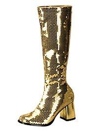 Schmalschaft Pailletten Stiefel gold