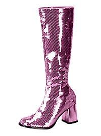 Schmalschaft Pailletten Stiefel pink