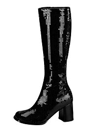 Schmalschaft Pailletten Stiefel schwarz
