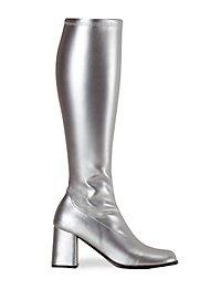 Schmalschaft Stiefel Kunstleder silber
