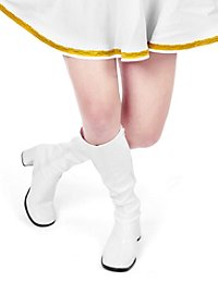 Retro Stiefel Stretchlack weiss