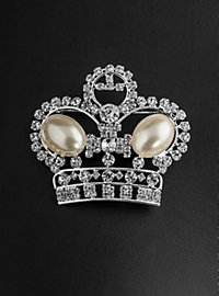 Rhinestone Crown with Pearls Brooch