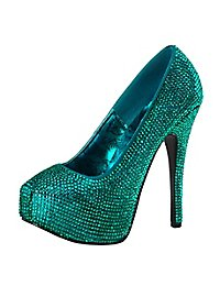 Rhinestone High Heels blue green