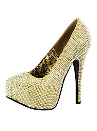Rhinestone High Heels gold