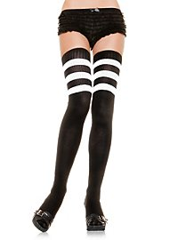 Ribbed Overknee Stockings black-white
