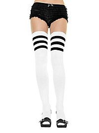 Ribbed Overknee Stockings white-black