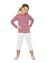 Ringleshirt for children long-sleeved red-white